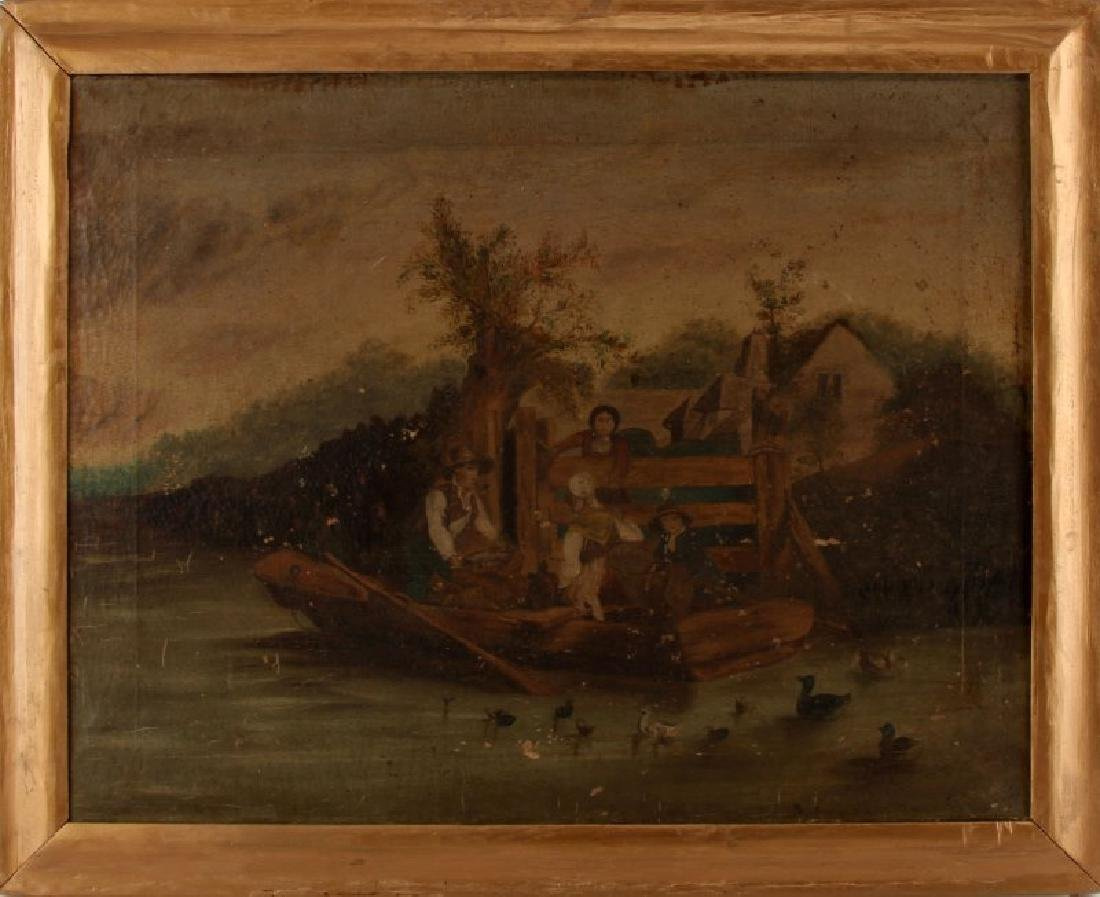 EARLY 20TH CENTURY RIVER BOAT FOLK ART PAINTING