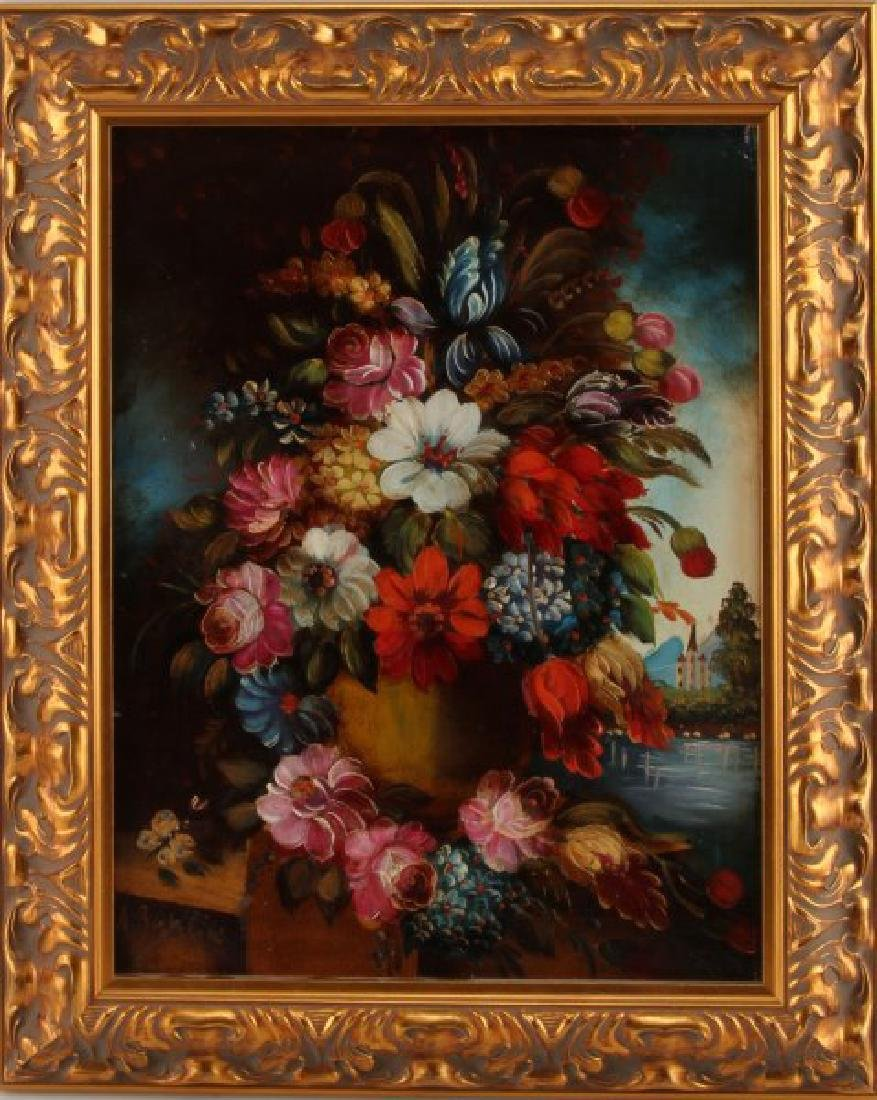 DECORATIVE FLORAL PAINTING OIL ON CANVAS