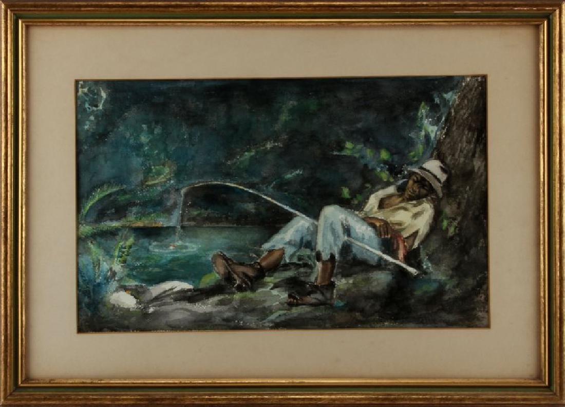 UNSIGNED SOUTHERN WATERCOLOR OF MAN FISHING
