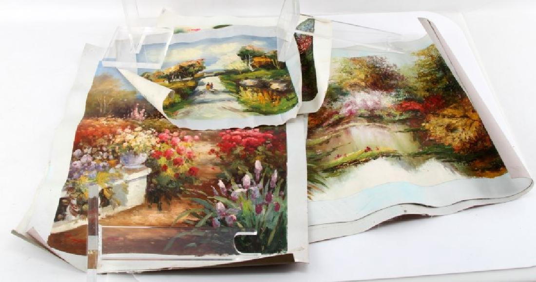 LOT OF 6 IDYLLIC IMPRESSIONISTIC FLORAL PAINTINGS