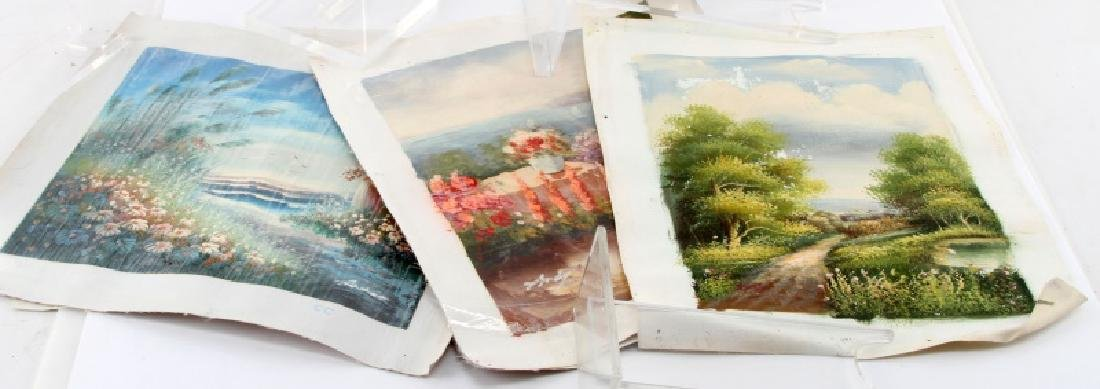 LOT OF 5 NATURE LADIES WAITING BY SEA PAINTINGS