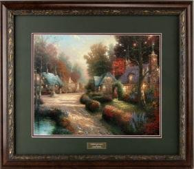 COBBLESTONE LANE PRINT THOMAS KINKADE FRAMED