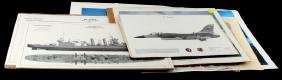 LOT OF UNSIGNED MILITARY AVIATION AND SHIP PRINTS