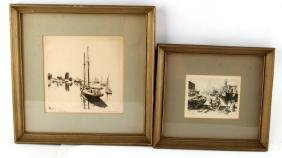 TWO LIONEL BARRYMORE SIGNED AND FRAMED ETCHINGS