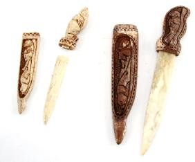 PAIR OF CARVED ALL-BONE SEAL KNIVES