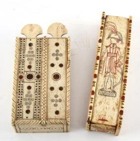 TWO CARVED BONE GAMING SETS DOMINOES & DICE