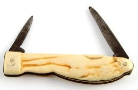 19TH CENTURY NUDE WOMAN POCKET KNIFE IVORY SCALES
