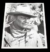 8 BY 10 SIGNED BLACK  WHITE PHOTO OF JOHN WAYNE