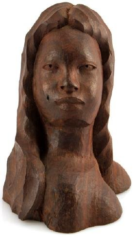 ROSEWOOD HAND CARVING BUST OF FEMALE