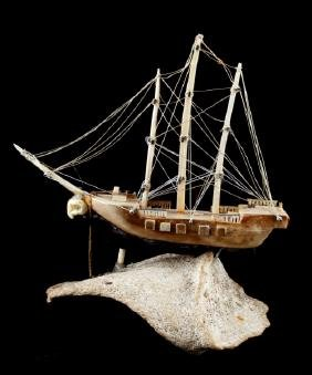 FOSSIL IVORY HAND CARVED MODEL SHIP MARIE II
