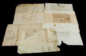 9 TENNESSEE 1840'S STAMPLESS ENVELOPES