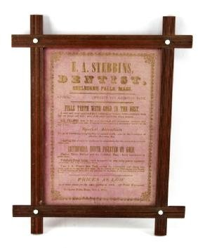 FRAMED 1871 DENTIST PRINTED ADVERTISEMENT SHEET