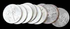 10 MIXED DATE SILVER AMERICAN EAGLE COIN LOT
