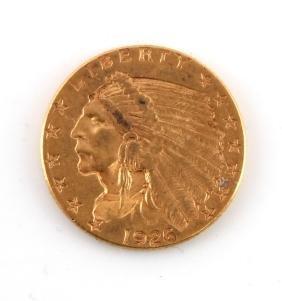 1926 INDIAN HEAD GOLD QUARTER EAGLE COIN