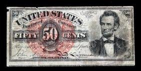 50 CENT US LINCOLN FRACTIONAL CURRENCY VG