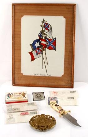 CIVIL WAR CSA COMMEMORATIVE CARDS STAMPS KNIFE