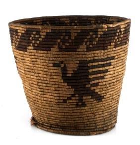 ANTIQUE PIMA INDIAN BIRD IMAGE TALL BASKET