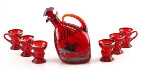 RUBY RED OVERLAY HUNT SCENE SCOTCH DECANTER