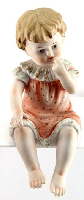PORCELAIN PIANO BABY BISQUE GERMAN DOLL