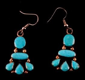 NAVAJO MARQUETA MCCRAY STERLING/TURQUOISE EARINGS