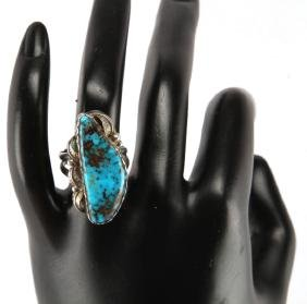 STERLING SILVER NAVAJO LES BAKER TURQUOISE RING