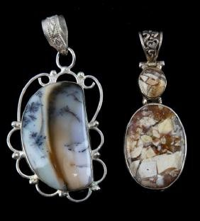 PAIR OF NATIVE AMERICAN CRAFTED ARTISAN PENDANTS