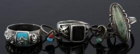 LOT OF 5 NAVAJO-STYLE ORNATE STERLING SILVER RINGS