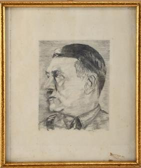 WWII GERMAN FRAMED CHARCOAL SCETCH OF ADOLF HITLER