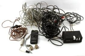 LOT OF ASSORTED AUDIO CABLES AND CORDS