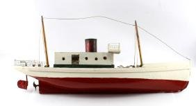 VINTAGE UNFINISHED PAINTED WOODEN STEAM BOAT MODEL