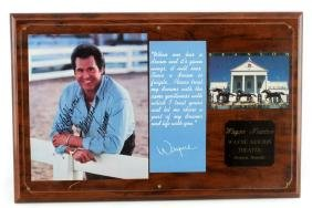 WAYNE NEWTON THEATER POST CARD SIGNED IN PLAQUE