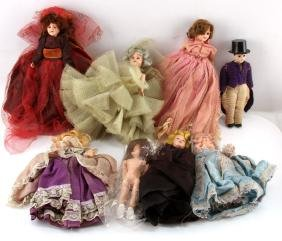 LOT OF 8 VINTAGE DOLLS HANDMADE CLOTHES 1940s 50s