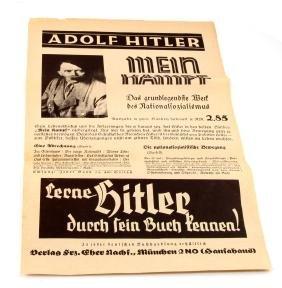 ADOLF HITLER ADVERTISING BROADSIDE FOR MEIN KAMPF