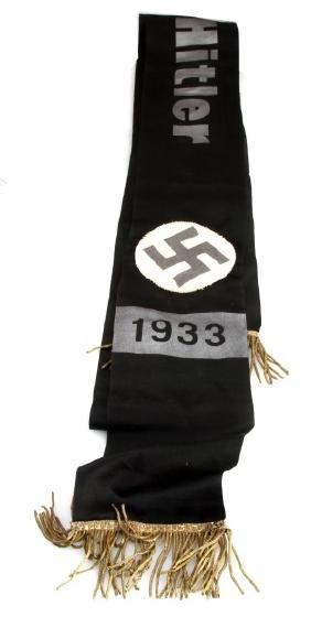 WWII GERMAN REICH 1933 BLACK SATIN HITLER SASH