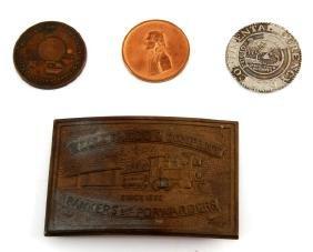 LOT OF US COMMEMORATIVE COINS & WELLS FARGO BUCKLE