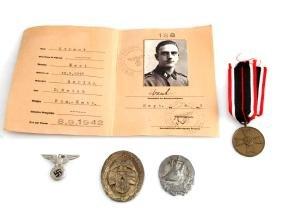 WWII GERMAN WAFFEN SS DIV I.D CARD & 4 MEDALS