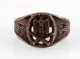 WWII GERMAN SILVER SS GENERAL ASSAULT BADGE RING