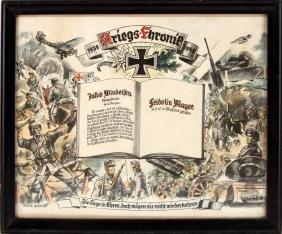 WWII GERMAN THIRD REICH KRIEGS HONOR CRONIC