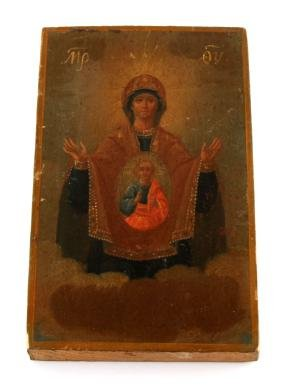 HAND-PAINTED GREEK ICON OUR LADY OF GLORY