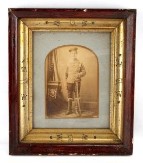 WWI GERMAN CAVALRY SOLDIER FRAMED CABINET PHOTO