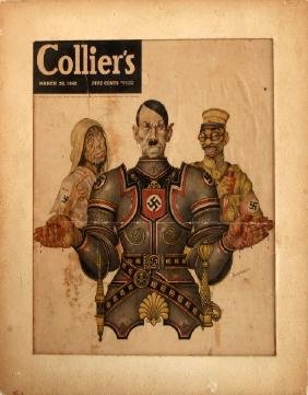 1942 COLLIERS COVER HITLER HIROHITO & FAMINE SZYK