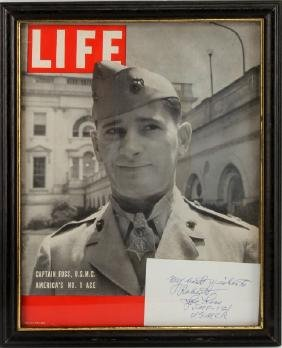 WWII TOP ACE CAPT JOE FOSS AUTOGRAPH & LIFE MAGAZI