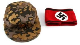 WWII GERMAN SS ARM BAND & M43 SS CAMO CAP