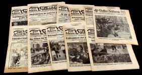 WWII GERMAN LOT OF 11 THIRD REICH NEWSPAPERS