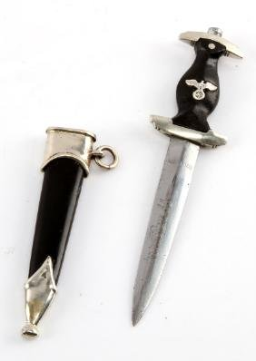WWII GERMAN 3RD REICH SS MINI DAGGER WITH SCABBARD
