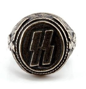 GERMAN WWII NAZI WAFFEN SS SILVER RING WITH RUNES