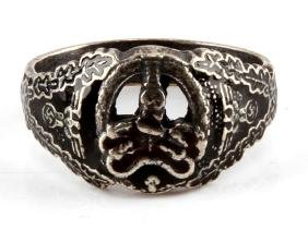GERMAN WWII NAZI ANTI PARTISAN WARFARE SILVER RING