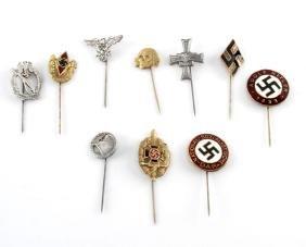 GROUP OF 10 GERMAN WWII THIRD REICH STICKPINS