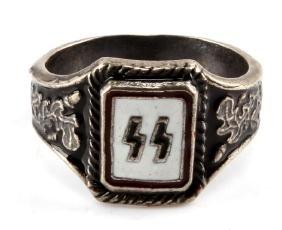 GERMAN WWII NAZI WAFFEN SS ENAMELED SILVER RING