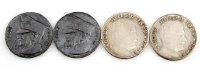 4 GERMAN WWII THIRD REICH COINS HITLER